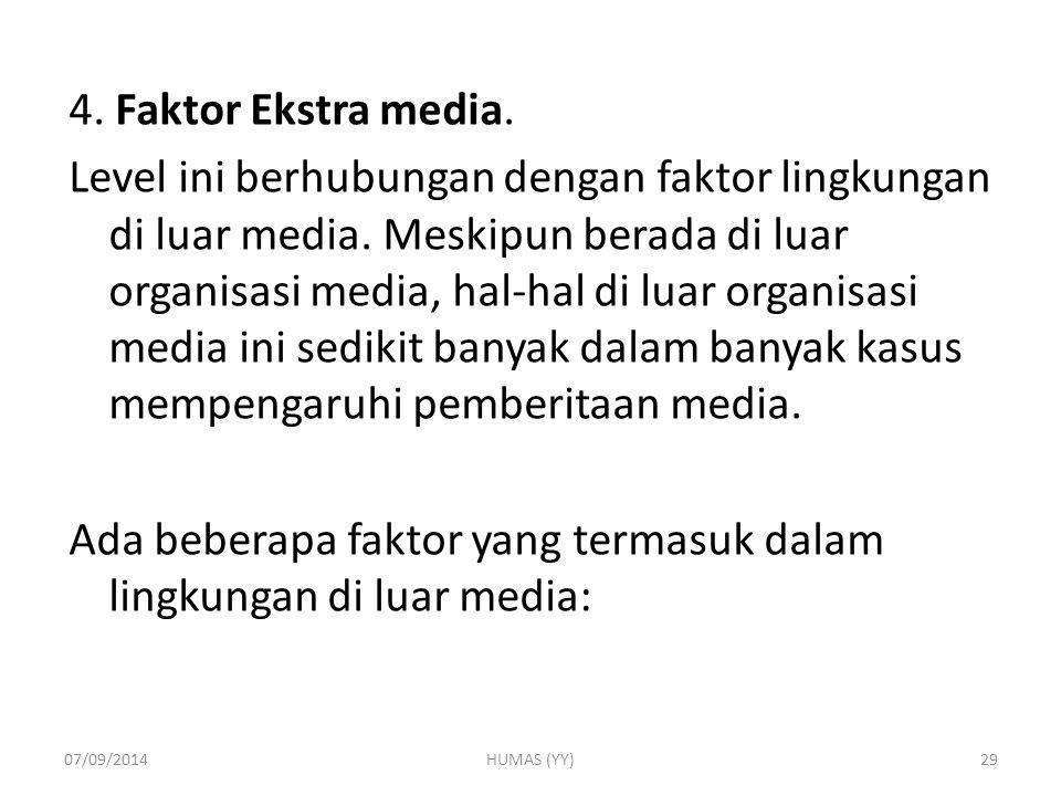 4. Faktor Ekstra media. Level ini berhubungan dengan faktor lingkungan di luar media. Meskipun berada di luar organisasi media, hal-hal di luar organi