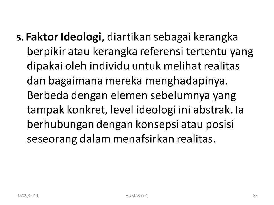 5. Faktor Ideologi, diartikan sebagai kerangka berpikir atau kerangka referensi tertentu yang dipakai oleh individu untuk melihat realitas dan bagaima