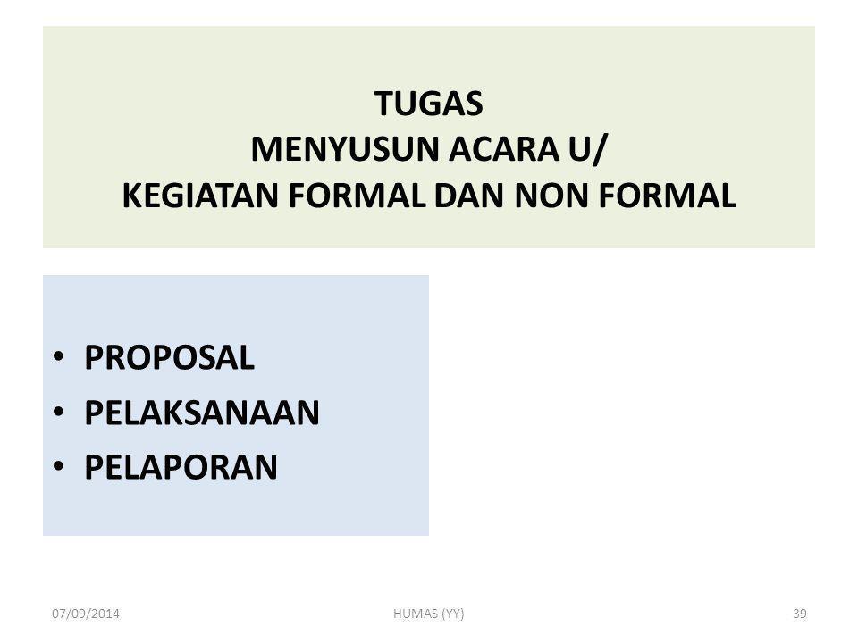 TUGAS MENYUSUN ACARA U/ KEGIATAN FORMAL DAN NON FORMAL PROPOSAL PELAKSANAAN PELAPORAN 07/09/2014HUMAS (YY)39