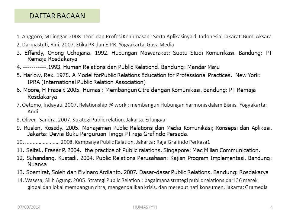 DAFTAR BACAAN 1. Anggoro, M Linggar. 2008. Teori dan Profesi Kehumasan : Serta Aplikasinya di Indonesia. Jakarat: Bumi Aksara 2. Darmastuti, Rini. 200