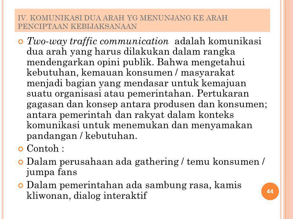 IV. KOMUNIKASI DUA ARAH YG MENUNJANG KE ARAH PENCIPTAAN KEBIJAKSANAAN Two-way traffic communication adalah komunikasi dua arah yang harus dilakukan da