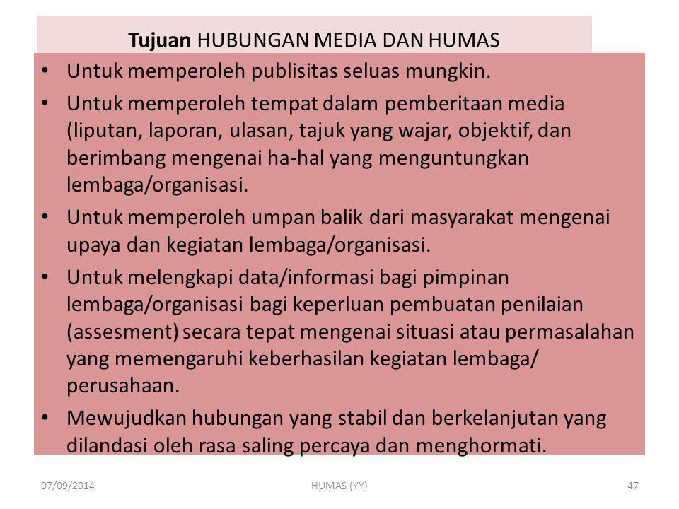 Tujuan HUBUNGAN MEDIA DAN HUMAS Untuk memperoleh publisitas seluas mungkin. Untuk memperoleh tempat dalam pemberitaan media (liputan, laporan, ulasan,