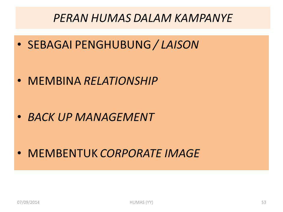 PERAN HUMAS DALAM KAMPANYE SEBAGAI PENGHUBUNG / LAISON MEMBINA RELATIONSHIP BACK UP MANAGEMENT MEMBENTUK CORPORATE IMAGE 07/09/2014HUMAS (YY)53