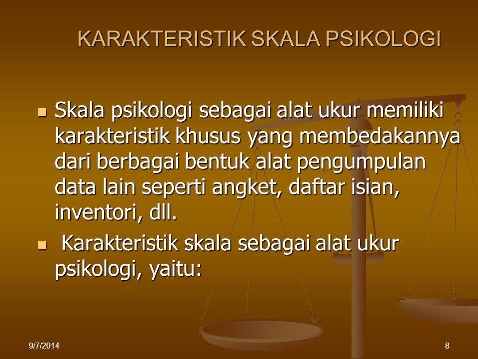 KONSTRAK PSIKOLOGIS Merupakan konsep buatan Konstrak psikologis dibangun oleh ahli untuk menjelaskan fenomena psikologis ex : Dengan menggunakan konstrak INTELIGENSI kita dapat menjelaskan mengapa individu memiliki kemampuan penalaran bervariasi Tidak dapat diamati secara langsung Konstrak psikologis bersifat abstrak dan hipotetik sehingga tidak dapat diamati secara langsung sebelum diturunkan menjadi indikator tampak, konstrak psikologis tidak dapat diamati Mengalami perkembangan Karena bersifat konseptual maka konstrak psikologi mengalami perkembangan Contoh: Locus of Control berubahmenjadiSelf Control-Self Efficacy