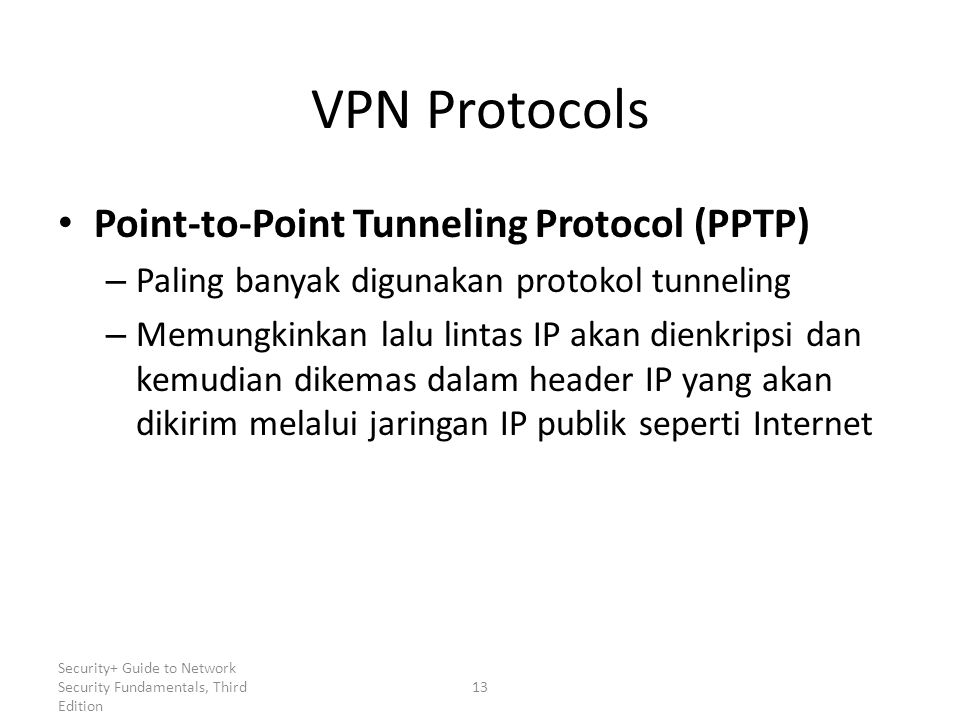 Security+ Guide to Network Security Fundamentals, Third Edition VPN Protocols Point-to-Point Tunneling Protocol (PPTP) – Paling banyak digunakan proto