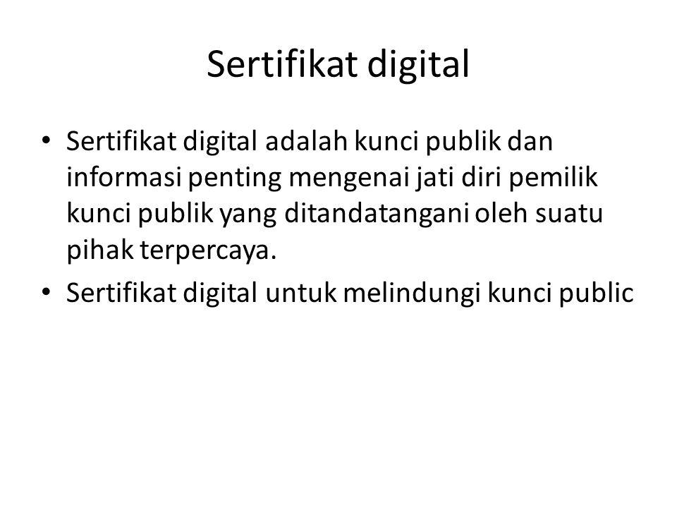 Sertifikat digital Sertifikat digital adalah kunci publik dan informasi penting mengenai jati diri pemilik kunci publik yang ditandatangani oleh suatu