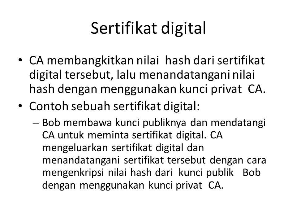 Sertifikat digital CA membangkitkan nilai hash dari sertifikat digital tersebut, lalu menandatangani nilai hash dengan menggunakan kunci privat CA. Co