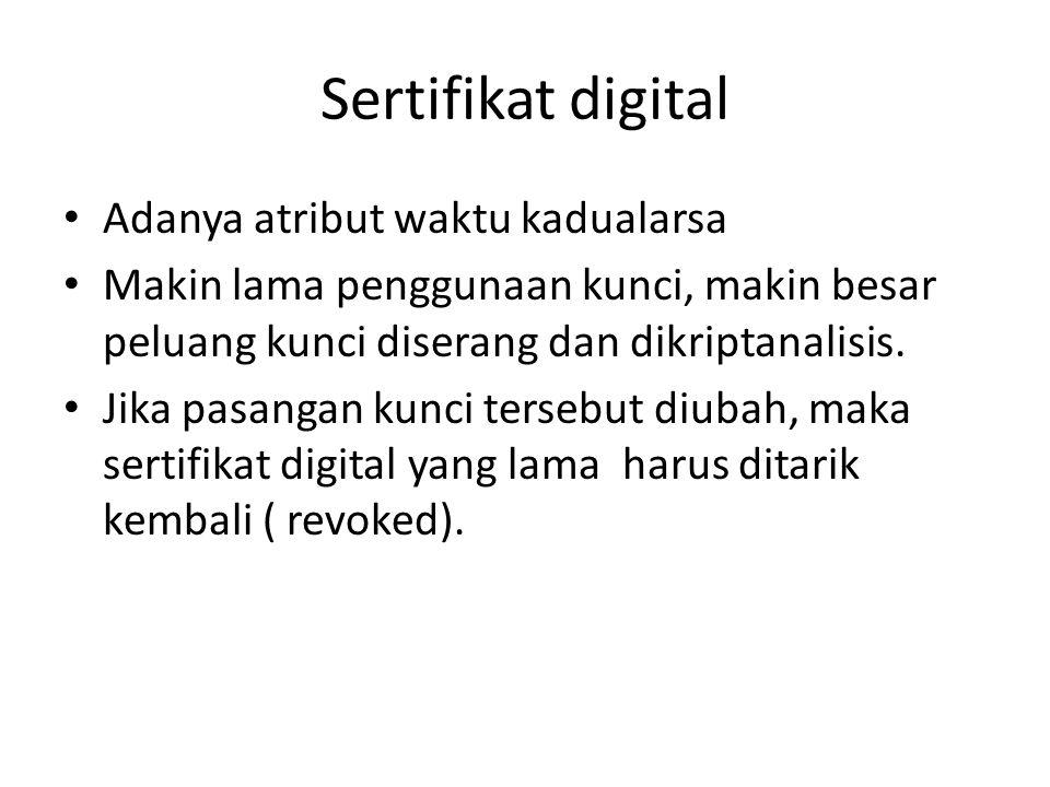 Sertifikat digital Adanya atribut waktu kadualarsa Makin lama penggunaan kunci, makin besar peluang kunci diserang dan dikriptanalisis. Jika pasangan