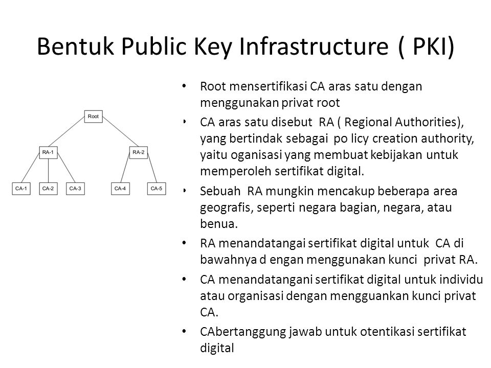 Bentuk Public Key Infrastructure ( PKI) Root mensertifikasi CA aras satu dengan menggunakan privat root CA aras satu disebut RA ( Regional Authorities