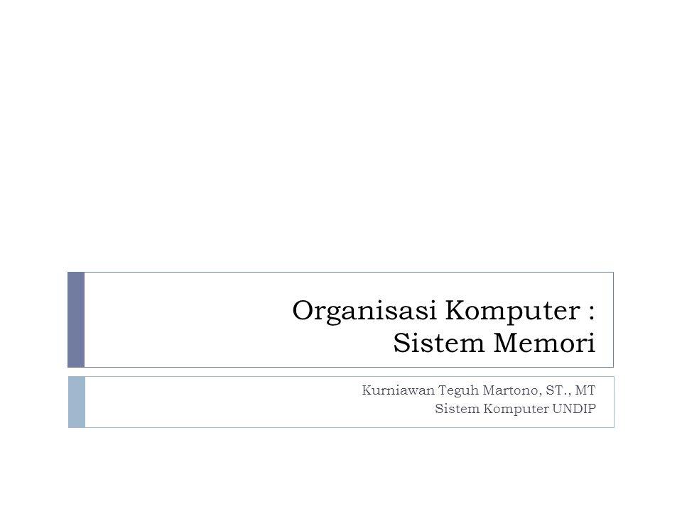 Organisasi Komputer : Sistem Memori Kurniawan Teguh Martono, ST., MT Sistem Komputer UNDIP