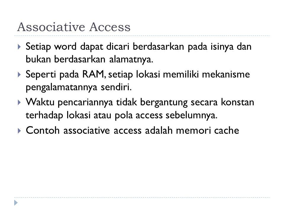 Associative Access  Setiap word dapat dicari berdasarkan pada isinya dan bukan berdasarkan alamatnya.  Seperti pada RAM, setiap lokasi memiliki meka