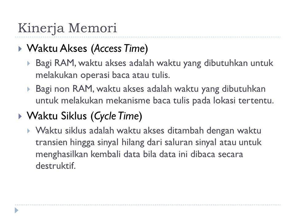Kinerja Memori  Waktu Akses (Access Time)  Bagi RAM, waktu akses adalah waktu yang dibutuhkan untuk melakukan operasi baca atau tulis.  Bagi non RA