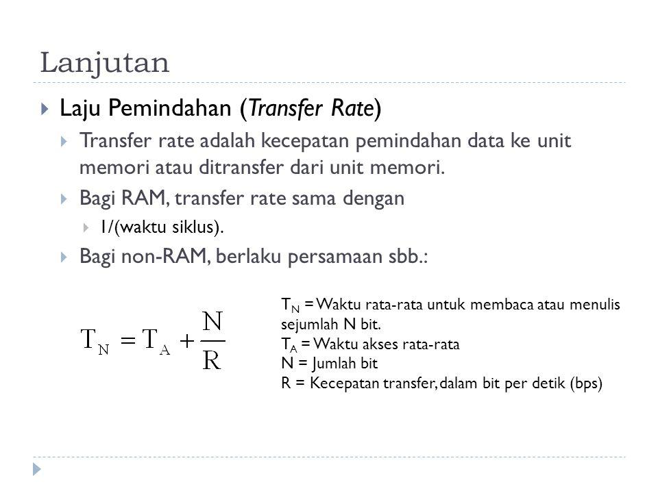 Lanjutan  Laju Pemindahan (Transfer Rate)  Transfer rate adalah kecepatan pemindahan data ke unit memori atau ditransfer dari unit memori.  Bagi RA