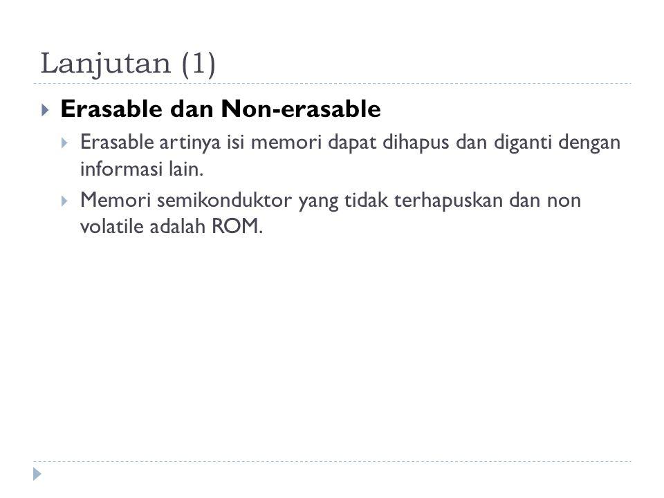 Lanjutan (1)  Erasable dan Non-erasable  Erasable artinya isi memori dapat dihapus dan diganti dengan informasi lain.  Memori semikonduktor yang ti
