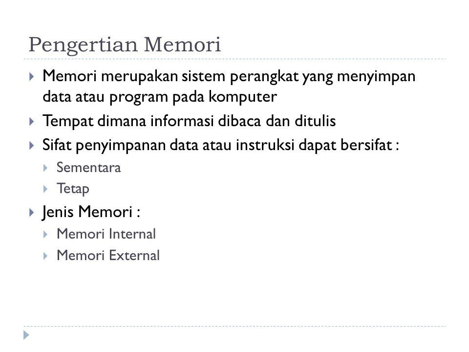 Pengertian Memori  Memori merupakan sistem perangkat yang menyimpan data atau program pada komputer  Tempat dimana informasi dibaca dan ditulis  Si