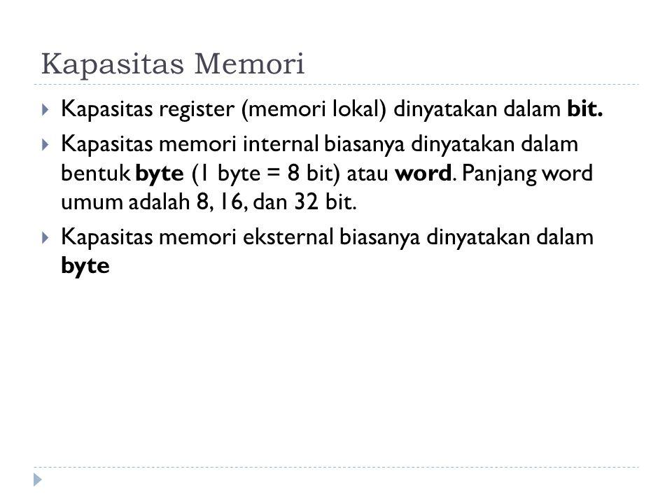 Kapasitas Memori  Kapasitas register (memori lokal) dinyatakan dalam bit.  Kapasitas memori internal biasanya dinyatakan dalam bentuk byte (1 byte =