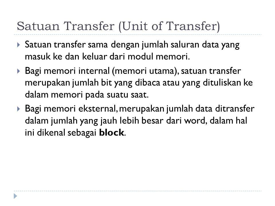 Satuan Transfer (Unit of Transfer)  Satuan transfer sama dengan jumlah saluran data yang masuk ke dan keluar dari modul memori.  Bagi memori interna