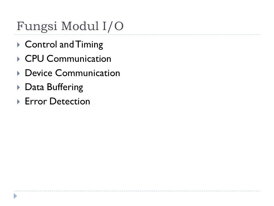 Fungsi Modul I/O  Control and Timing  CPU Communication  Device Communication  Data Buffering  Error Detection