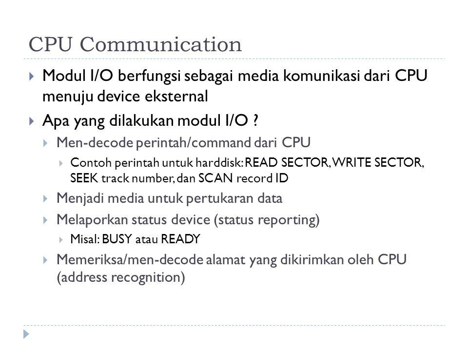CPU Communication  Modul I/O berfungsi sebagai media komunikasi dari CPU menuju device eksternal  Apa yang dilakukan modul I/O .