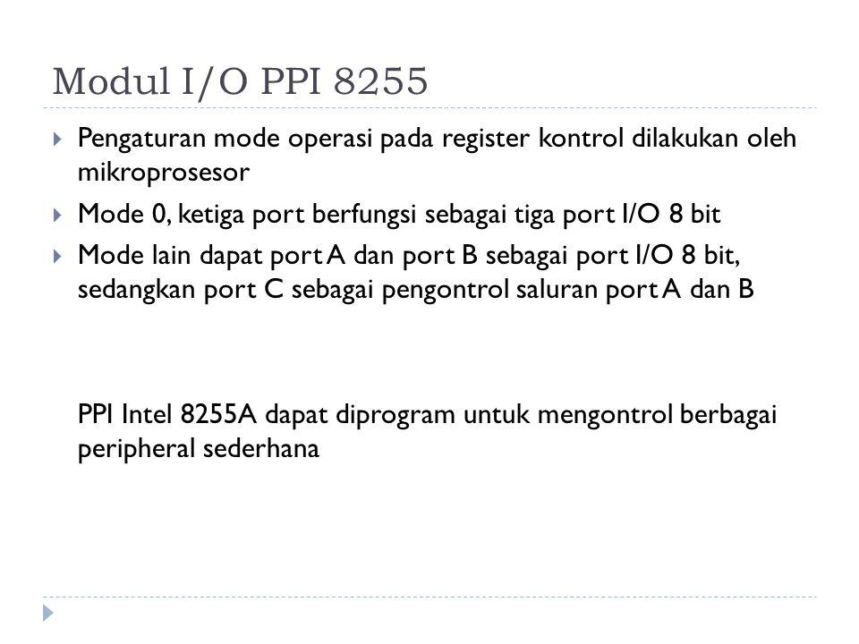 Modul I/O PPI 8255  Pengaturan mode operasi pada register kontrol dilakukan oleh mikroprosesor  Mode 0, ketiga port berfungsi sebagai tiga port I/O 8 bit  Mode lain dapat port A dan port B sebagai port I/O 8 bit, sedangkan port C sebagai pengontrol saluran port A dan B PPI Intel 8255A dapat diprogram untuk mengontrol berbagai peripheral sederhana