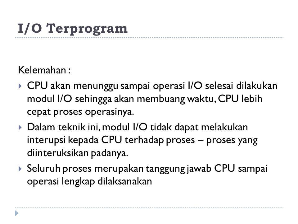 I/O Terprogram Kelemahan :  CPU akan menunggu sampai operasi I/O selesai dilakukan modul I/O sehingga akan membuang waktu, CPU lebih cepat proses operasinya.