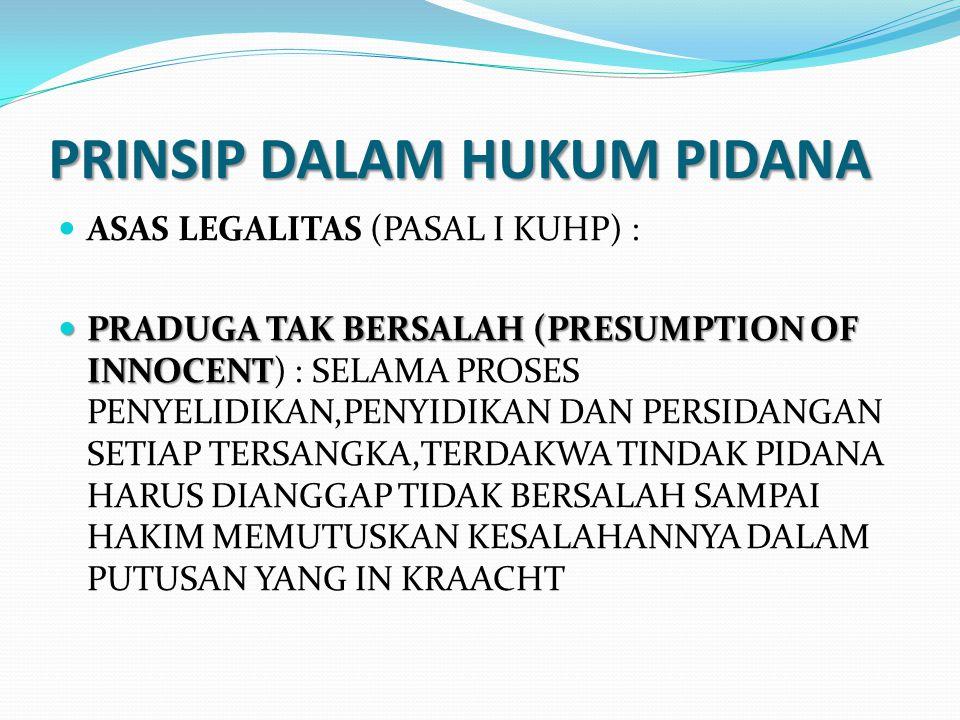PRINSIP DALAM HUKUM PIDANA ASAS LEGALITAS (PASAL I KUHP) : PRADUGA TAK BERSALAH (PRESUMPTION OF INNOCENT PRADUGA TAK BERSALAH (PRESUMPTION OF INNOCENT) : SELAMA PROSES PENYELIDIKAN,PENYIDIKAN DAN PERSIDANGAN SETIAP TERSANGKA,TERDAKWA TINDAK PIDANA HARUS DIANGGAP TIDAK BERSALAH SAMPAI HAKIM MEMUTUSKAN KESALAHANNYA DALAM PUTUSAN YANG IN KRAACHT