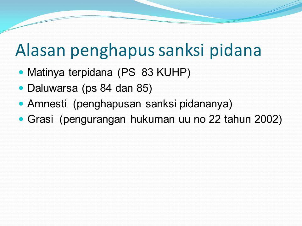 Alasan penghapus sanksi pidana Matinya terpidana (PS 83 KUHP) Daluwarsa (ps 84 dan 85) Amnesti (penghapusan sanksi pidananya) Grasi (pengurangan hukuman uu no 22 tahun 2002)