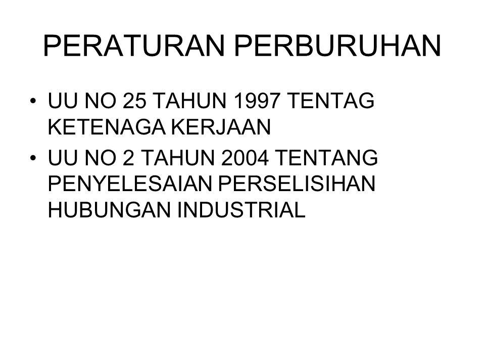 PERATURAN PERBURUHAN UU NO 25 TAHUN 1997 TENTAG KETENAGA KERJAAN UU NO 2 TAHUN 2004 TENTANG PENYELESAIAN PERSELISIHAN HUBUNGAN INDUSTRIAL