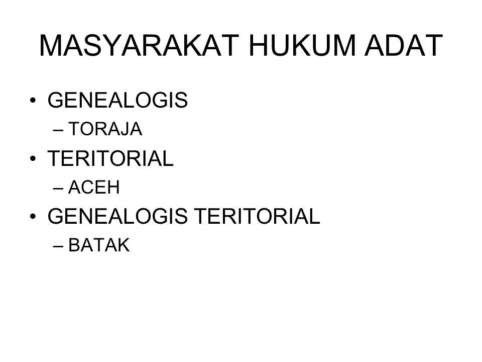 MASYARAKAT HUKUM ADAT GENEALOGIS –TORAJA TERITORIAL –ACEH GENEALOGIS TERITORIAL –BATAK
