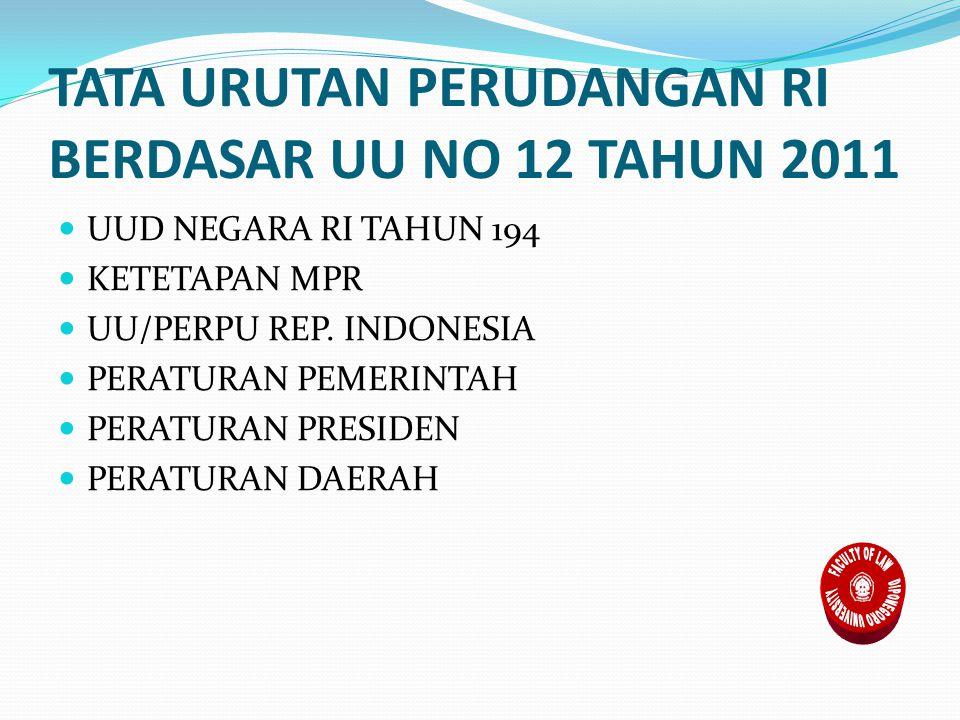 TATA URUTAN PERUDANGAN RI BERDASAR UU NO 12 TAHUN 2011 UUD NEGARA RI TAHUN 194 KETETAPAN MPR UU/PERPU REP.