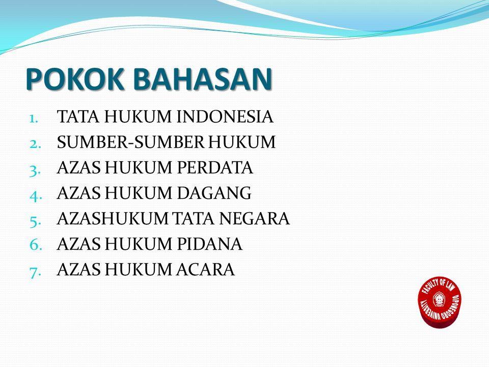 POKOK BAHASAN 1.TATA HUKUM INDONESIA 2. SUMBER-SUMBER HUKUM 3.