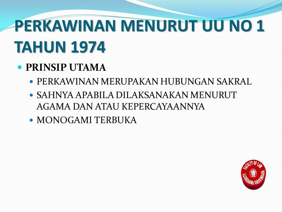 PERKAWINAN MENURUT UU NO 1 TAHUN 1974 PRINSIP UTAMA PERKAWINAN MERUPAKAN HUBUNGAN SAKRAL SAHNYA APABILA DILAKSANAKAN MENURUT AGAMA DAN ATAU KEPERCAYAANNYA MONOGAMI TERBUKA