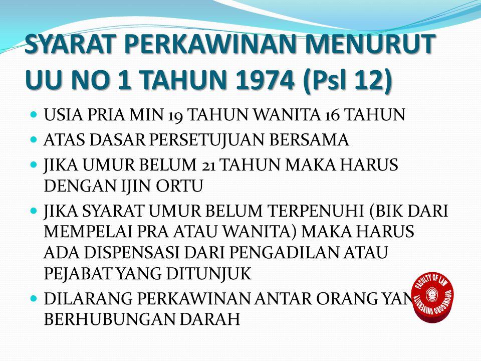 SYARAT PERKAWINAN MENURUT UU NO 1 TAHUN 1974 (Psl 12) USIA PRIA MIN 19 TAHUN WANITA 16 TAHUN ATAS DASAR PERSETUJUAN BERSAMA JIKA UMUR BELUM 21 TAHUN MAKA HARUS DENGAN IJIN ORTU JIKA SYARAT UMUR BELUM TERPENUHI (BIK DARI MEMPELAI PRA ATAU WANITA) MAKA HARUS ADA DISPENSASI DARI PENGADILAN ATAU PEJABAT YANG DITUNJUK DILARANG PERKAWINAN ANTAR ORANG YANG BERHUBUNGAN DARAH