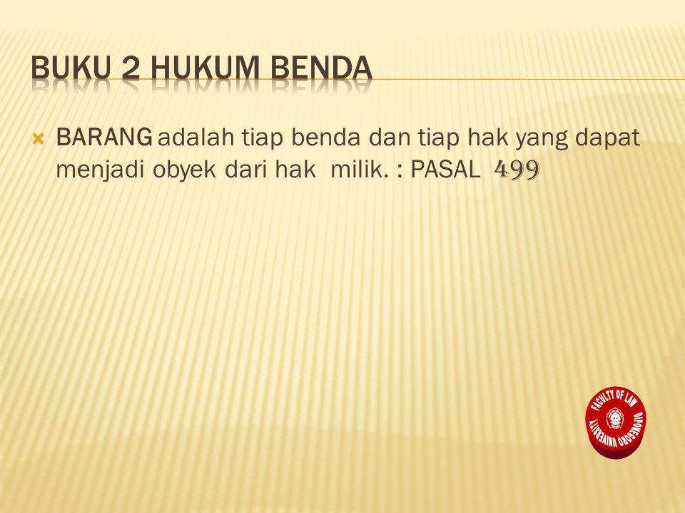  BARANG adalah tiap benda dan tiap hak yang dapat menjadi obyek dari hak milik. : PASAL 499