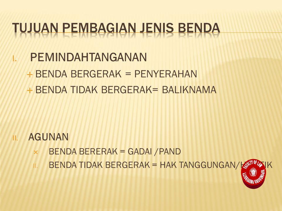 I.PEMINDAHTANGANAN  BENDA BERGERAK = PENYERAHAN  BENDA TIDAK BERGERAK= BALIKNAMA II.