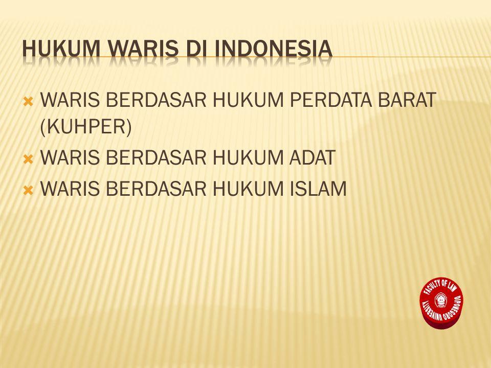  WARIS BERDASAR HUKUM PERDATA BARAT (KUHPER)  WARIS BERDASAR HUKUM ADAT  WARIS BERDASAR HUKUM ISLAM