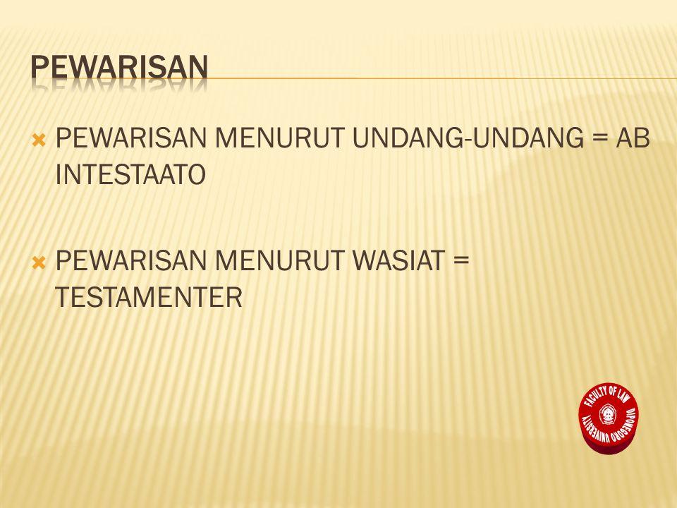  PEWARISAN MENURUT UNDANG-UNDANG = AB INTESTAATO  PEWARISAN MENURUT WASIAT = TESTAMENTER