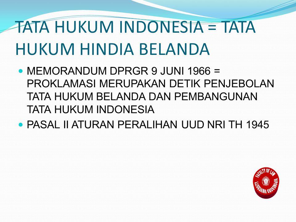 TATA HUKUM INDONESIA = TATA HUKUM HINDIA BELANDA MEMORANDUM DPRGR 9 JUNI 1966 = PROKLAMASI MERUPAKAN DETIK PENJEBOLAN TATA HUKUM BELANDA DAN PEMBANGUNAN TATA HUKUM INDONESIA PASAL II ATURAN PERALIHAN UUD NRI TH 1945