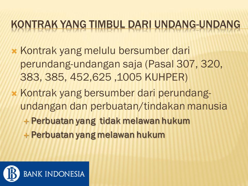  Kontrak yang melulu bersumber dari perundang-undangan saja (Pasal 307, 320, 383, 385, 452,625,1005 KUHPER)  Kontrak yang bersumber dari perundang- undangan dan perbuatan/tindakan manusia  Perbuatan yang tidak melawan hukum  Perbuatan yang melawan hukum