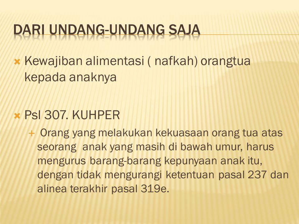  Kewajiban alimentasi ( nafkah) orangtua kepada anaknya  Psl 307.