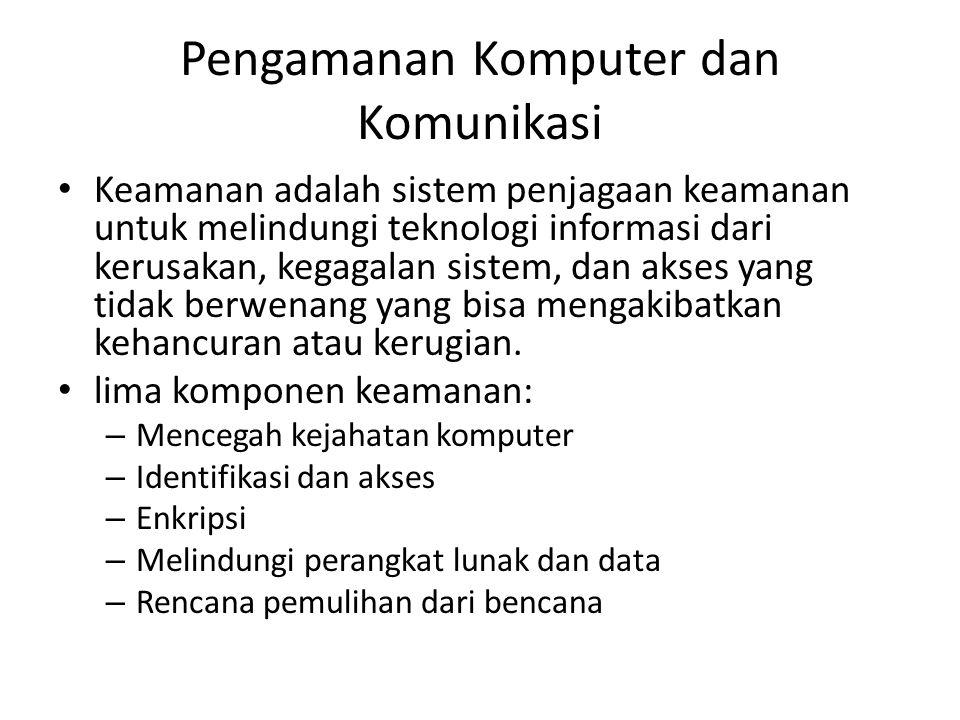 Pengamanan Komputer dan Komunikasi Keamanan adalah sistem penjagaan keamanan untuk melindungi teknologi informasi dari kerusakan, kegagalan sistem, dan akses yang tidak berwenang yang bisa mengakibatkan kehancuran atau kerugian.