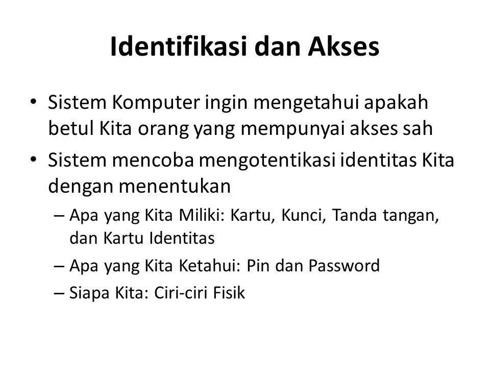 Identifikasi dan Akses Sistem Komputer ingin mengetahui apakah betul Kita orang yang mempunyai akses sah Sistem mencoba mengotentikasi identitas Kita dengan menentukan – Apa yang Kita Miliki: Kartu, Kunci, Tanda tangan, dan Kartu Identitas – Apa yang Kita Ketahui: Pin dan Password – Siapa Kita: Ciri-ciri Fisik