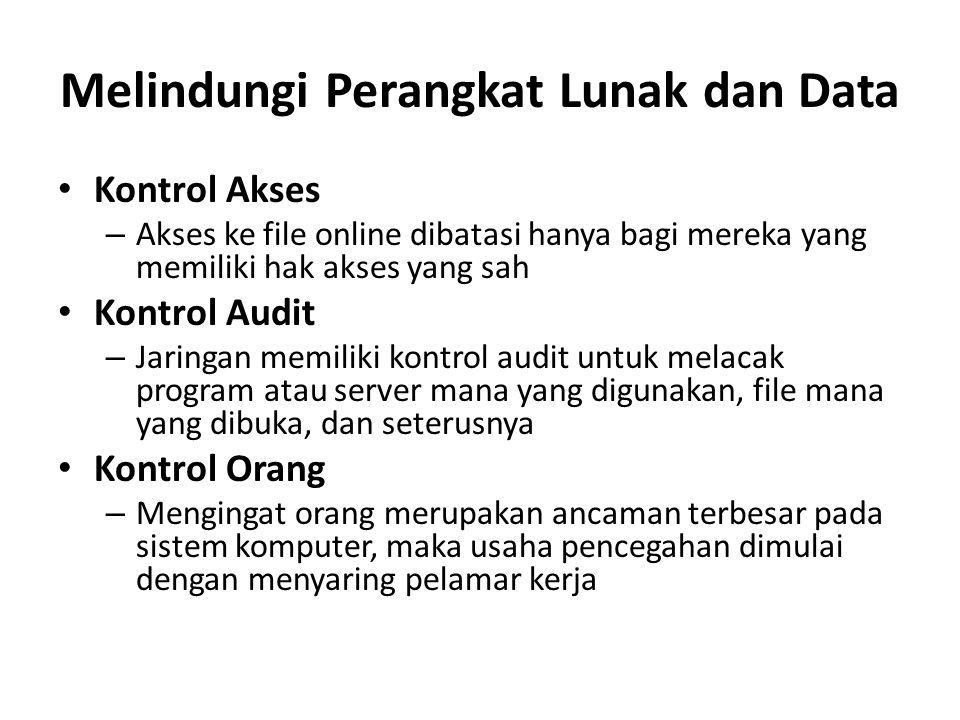 Melindungi Perangkat Lunak dan Data Kontrol Akses – Akses ke file online dibatasi hanya bagi mereka yang memiliki hak akses yang sah Kontrol Audit – J