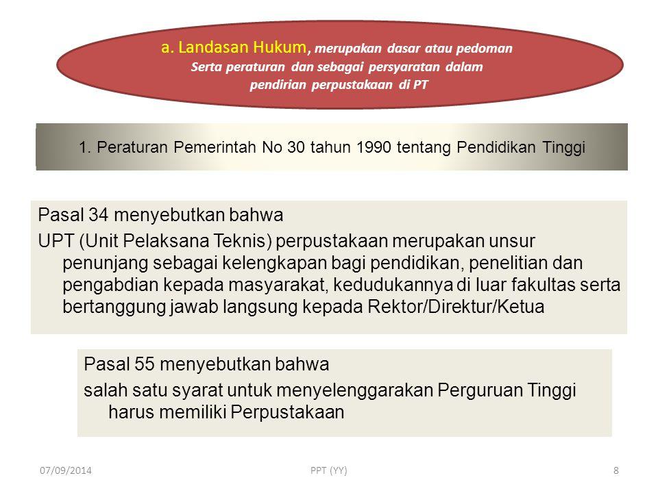 h. PELAYANAN PELAYANAN TEKNIS PELAYANAN PERPUSTAKAAN 07/09/2014PPT (YY)38