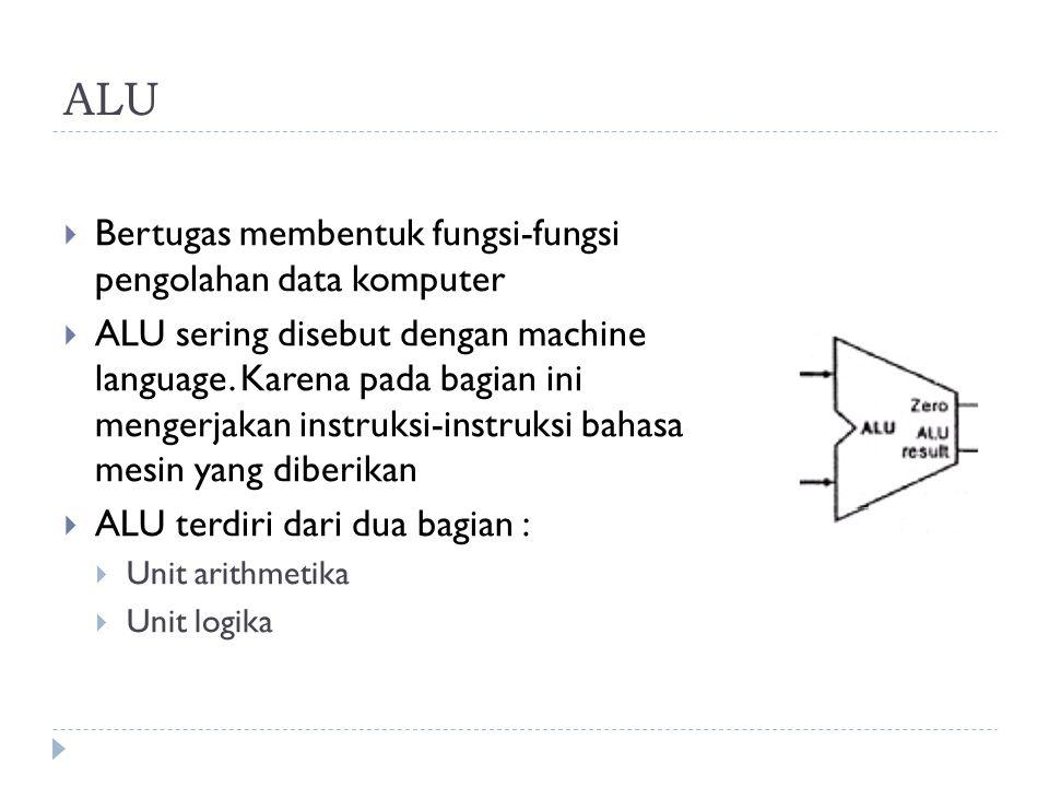 ALU  Bertugas membentuk fungsi-fungsi pengolahan data komputer  ALU sering disebut dengan machine language.