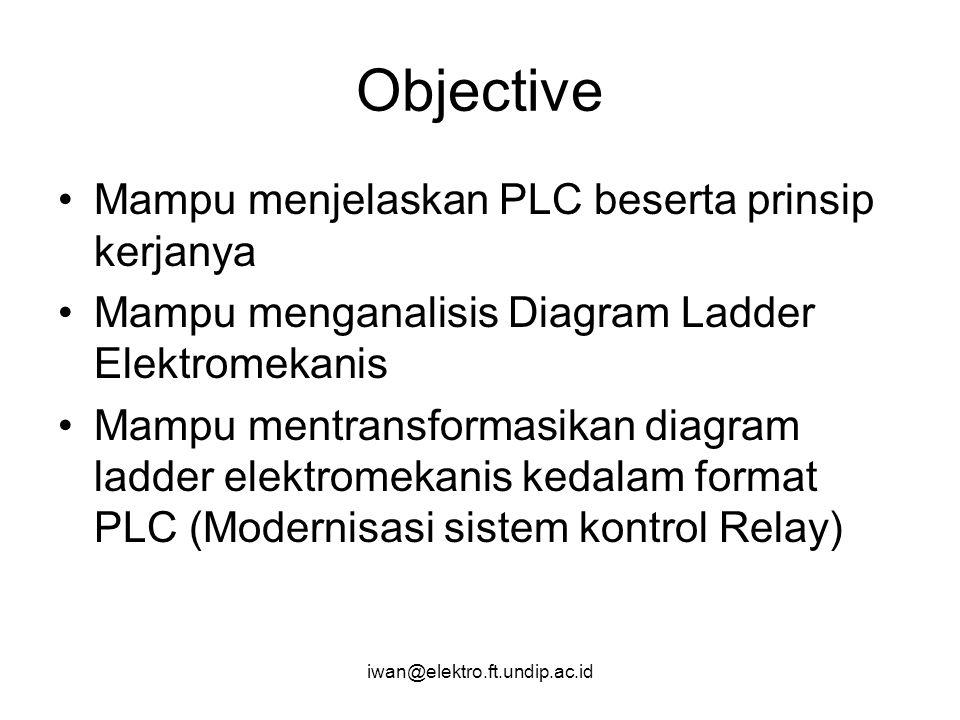 iwan@elektro.ft.undip.ac.id Objective Mampu menjelaskan PLC beserta prinsip kerjanya Mampu menganalisis Diagram Ladder Elektromekanis Mampu mentransfo