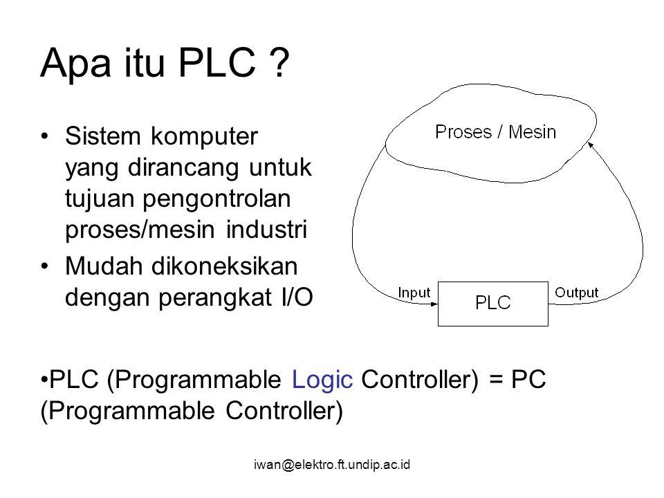 iwan@elektro.ft.undip.ac.id Apa itu PLC ? Sistem komputer yang dirancang untuk tujuan pengontrolan proses/mesin industri Mudah dikoneksikan dengan per