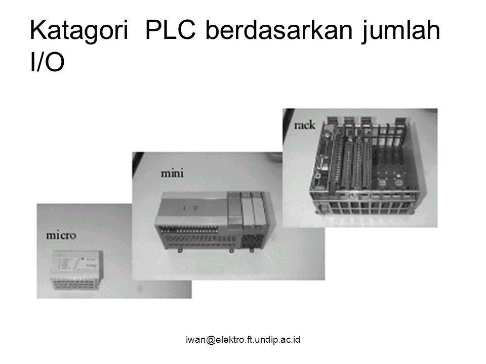 iwan@elektro.ft.undip.ac.id Modernisasi sistem kontrol elektromekanis Transformasi diagram ladder elektromekanis kedalam diagram ladder PLC –Gambarkan dulu Diagram Penyambungan input/output (Koneksikan Perangkat luar dengan modul I/O PLC –Realisasikan logika kontrolnya dalam PLC
