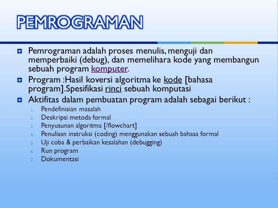  Pemrograman adalah proses menulis, menguji dan memperbaiki (debug), dan memelihara kode yang membangun sebuah program komputer.komputer  Program :Hasil koversi algoritma ke kode [bahasa program].Spesifikasi rinci sebuah komputasi  Aktifitas dalam pembuatan program adalah sebagai berikut : 1.