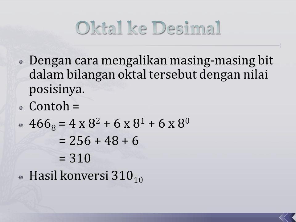  Dengan cara mengalikan masing-masing bit dalam bilangan oktal tersebut dengan nilai posisinya.  Contoh =  466 8 = 4 x 8 2 + 6 x 8 1 + 6 x 8 0 = 25